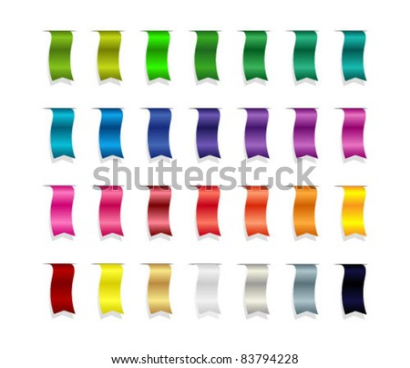 colorful ribbons or bookmarks set - stock vector