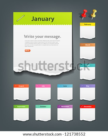 Colorful ripped paper note of the month background, vector illustration - stock vector