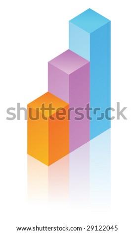 Colorful rising 3d bar chart - stock vector