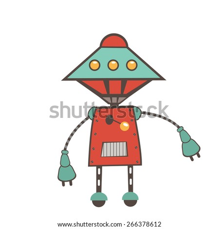 Colorful robot character illustration in vector format - stock vector