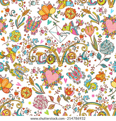 Colorful romantic seamless pattern with love birds, floral hearts, butterflies and flowers.  Can be used for cards, invitations, fabrics, wallpapers, ornamental template for design and decoration. - stock vector