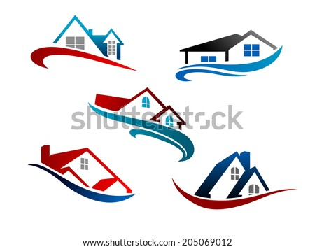 Colorful roof of houses with swoosh as the symbol or logo of real estate business isolated over white background  - stock vector
