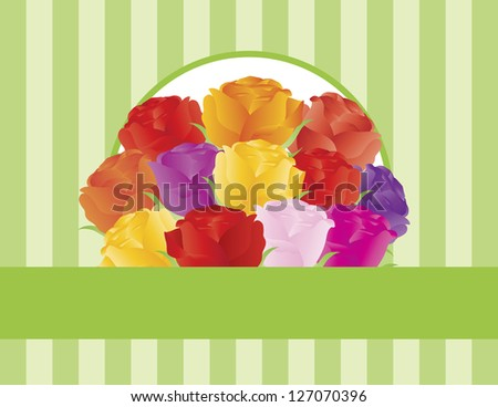 Colorful Rose Flowers for Valentines or Mothers Day on Green Stripes Pattern Background Illustration Vector - stock vector