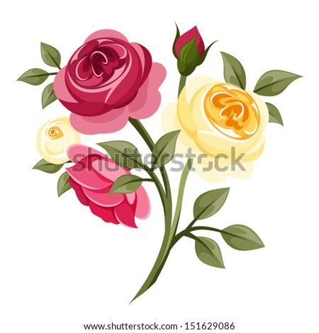 Colorful roses. Vector illustration. - stock vector
