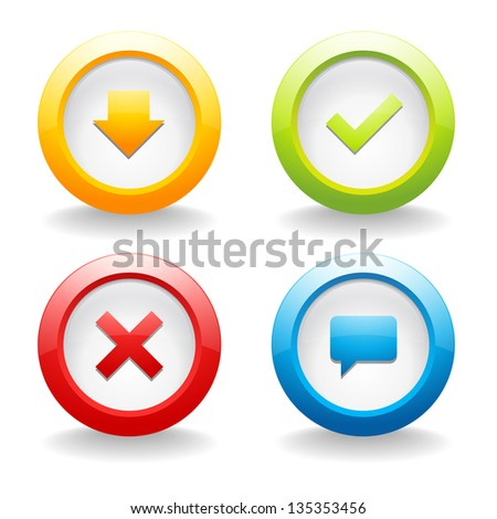 Colorful round button set - stock vector