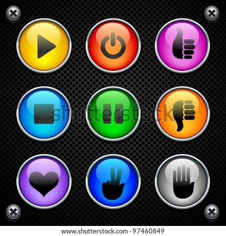 colorful round buttons - stock vector
