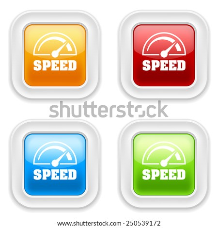 Colorful round buttons with speed icon on white background - stock vector