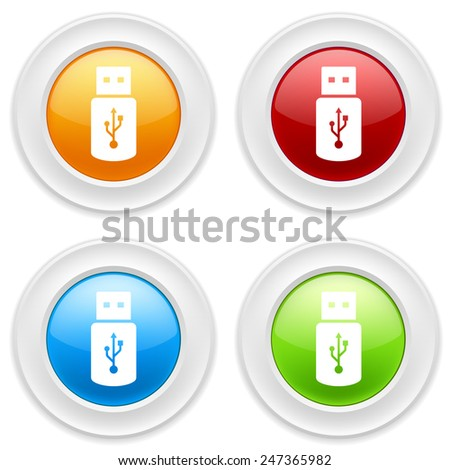 Colorful round buttons with usb stick icon on white background - stock vector