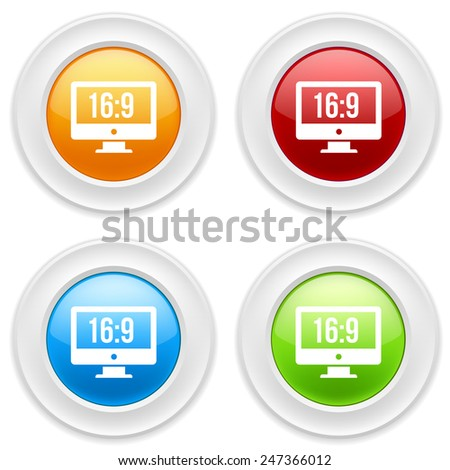 Colorful round buttons with wide-screen icon aon white background - stock vector