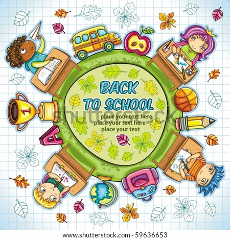 Colorful round composition, with cute schoolchildren and school design elements. with space for your text.