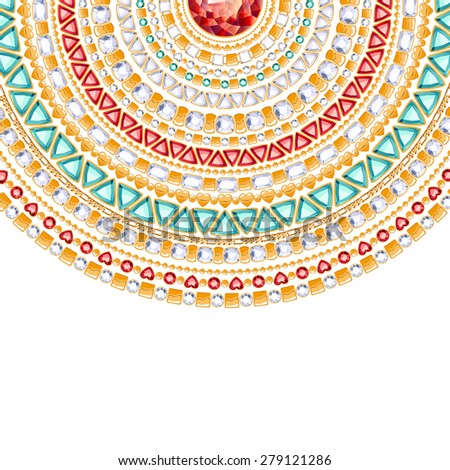 Colorful round jewels background. Luxurious chains pattern of gold, diamonds, rubies and emeralds. - stock vector