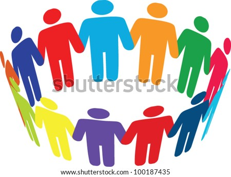 Colorful round of peoples. Team and union metaphor