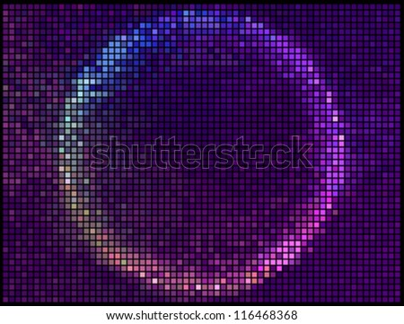 Colorful Round Square Pixel Mosaic Vector Banner.Multicolor Abstract Beautiful Lights Disco Club Background