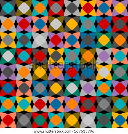colorful round square seamless pattern - stock vector
