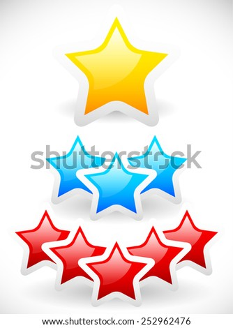 Colorful rounded stars, star compositions with glossy highlight and frames. Yellow, blue and red stars. - stock vector