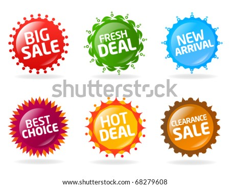 Colorful sale label collection - stock vector