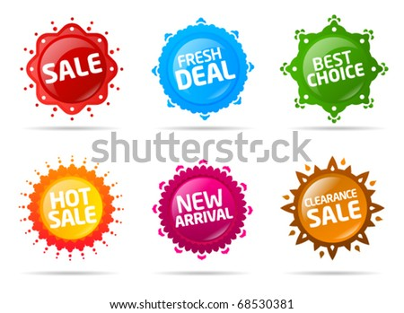 Colorful sale label collection 2 - stock vector