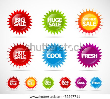Colorful sale label star collection - stock vector
