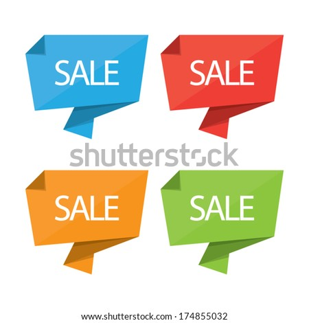Colorful Sale Origami - stock vector