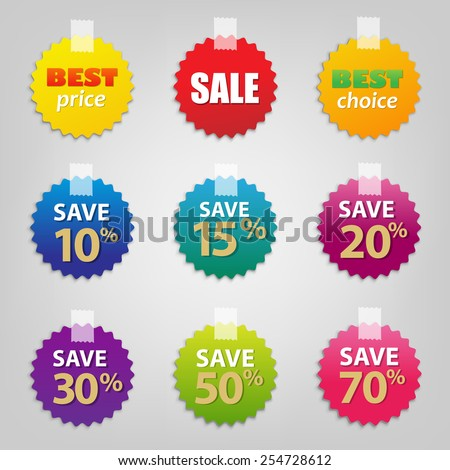 Colorful Sale Tags Set, Vector Illustration - stock vector