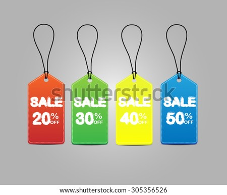 Colorful sales tags vector.