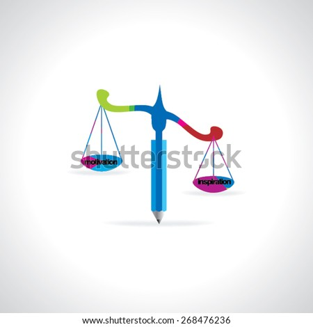 colorful scale concept of justice with pencil idea vector illustration - stock vector