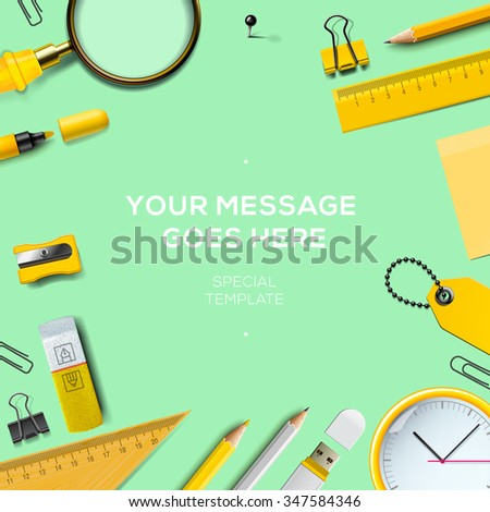 Colorful school supplies, green background, vector illustration. - stock vector