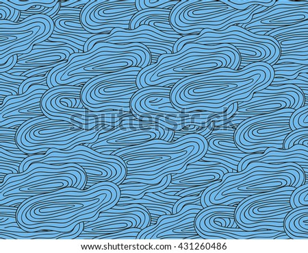 colorful seamless abstract hand-drawn pattern, waves background