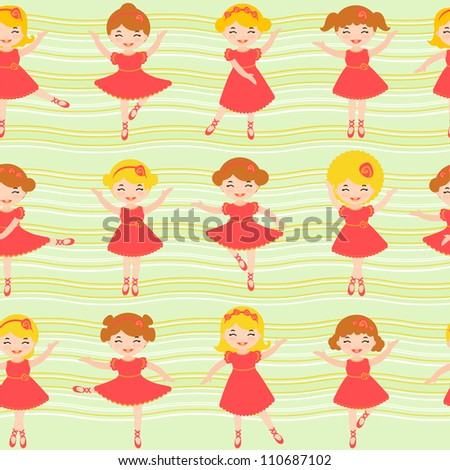 Colorful seamless background made of cute little ballerinas - stock vector