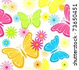Colorful seamless background with butterflies and flowers - stock vector