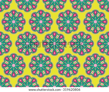 Colorful seamless background with decorative flowers