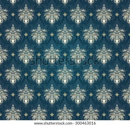 Colorful  seamless damask ornate  pattern - stock vector