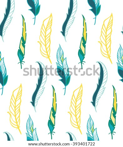 Colorful seamless feather pattern - stock vector