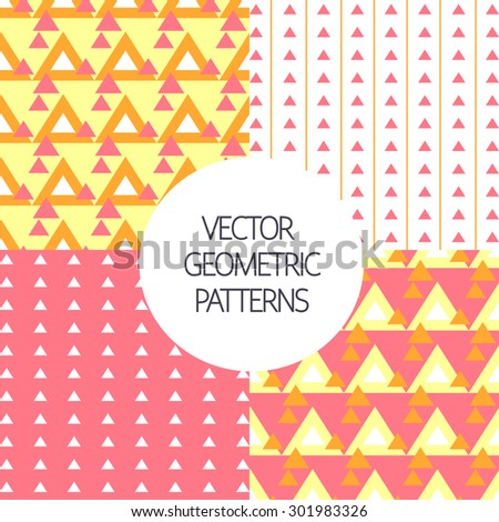 Colorful seamless geometric  patterns set. Vector Illustration.