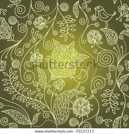 Colorful seamless pattern - abstract flowers