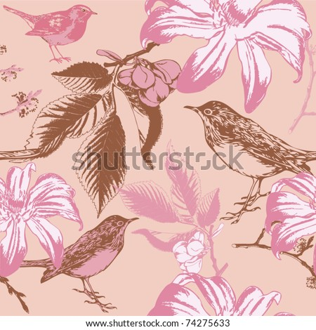 Colorful seamless pattern - birds in flowers - stock vector