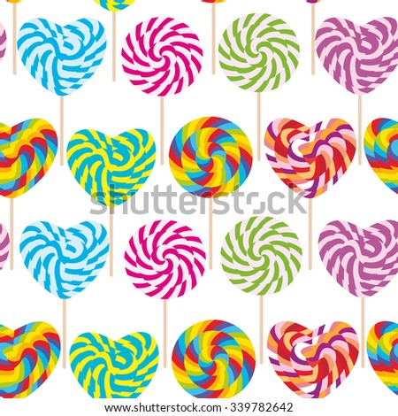 colorful seamless pattern, candy lollipops, spiral candy cane. Candy on stick with twisted design on white background. Vector - stock vector