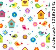 Colorful seamless pattern with birds and birdhouses - stock vector