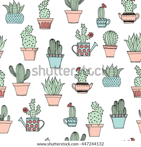 Vector cactus handdrawn seamless pattern grunge stock for Plante verte decorative