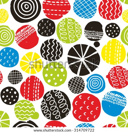 Colorful seamless pattern with decorative circles. Vector repeated background. - stock vector