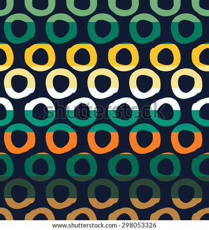 Colorful seamless pattern with dot and sun elements separated by color stripes on dark background.