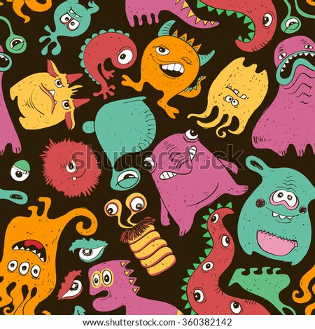 Colorful seamless pattern with funny monsters. Abstract graphic background. - stock vector