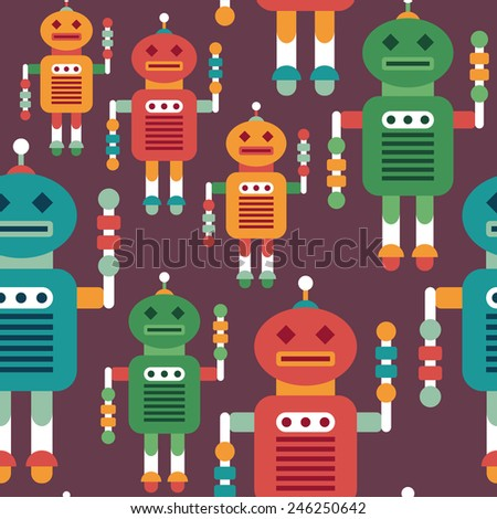Colorful seamless pattern with intelligent robots. - stock vector