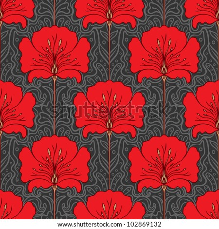Colorful seamless pattern with red flowers on gray background. Art nouveau style. - stock vector