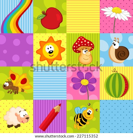 colorful seamless pattern with squares - vector illustration, eps - stock vector