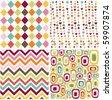 colorful seamless patterns with fabric texture - stock photo