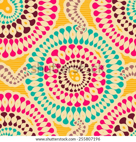 Colorful Seamless Rounded Shapes Pattern in Pink, Yellow and Emerald Colors - stock vector