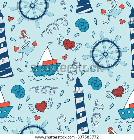 Colorful seamless sea pattern with steering wheels boats and lighthouses. Vector illustration - stock vector