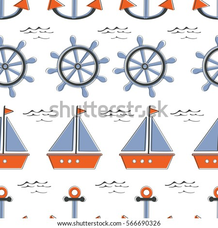 Colorful seamless sea pattern withboats stearing wheels and anchors