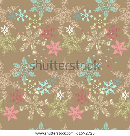 colorful seamless snowflake pattern - stock vector